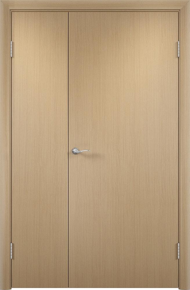 Фото двухстворчатой глухой гладкой двери ДПГ в цвете беленый дуб